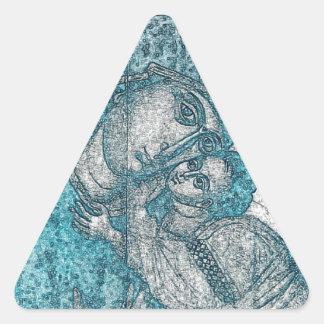 Jungfrau-Mary-Baby-Jesus-Engels-Porträt-Vintages Dreieckiger Aufkleber