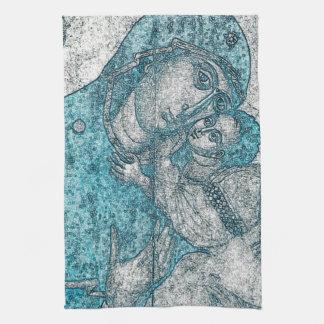 Jungfrau-Mary-Baby-Jesus-Engels-Porträt-Vintages Geschirrtuch