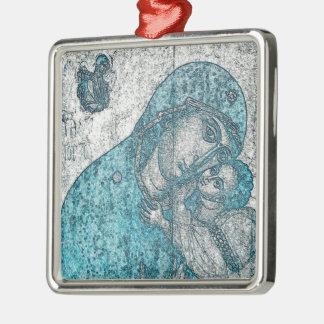 Jungfrau-Mary-Baby-Jesus-Engels-Porträt-Vintages Quadratisches Silberfarbenes Ornament
