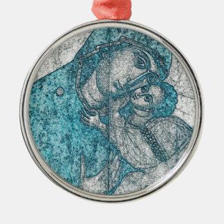 Jungfrau-Mary-Baby-Jesus-Engels-Porträt-Vintages Rundes Silberfarbenes Ornament