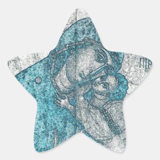 Jungfrau-Mary-Baby-Jesus-Engels-Porträt-Vintages Stern-Aufkleber