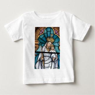 Jungfrau-Mary-Baby Jesusbeflecktes Glasfenster Baby T-shirt