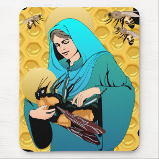 Jungfrau Mary Madonna u. Hummel-Biene Mousepad