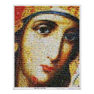 Jungfrau Mary mit Heiligen Plakatdruck