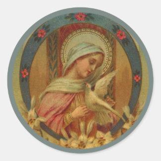 Jungfrau Mary mit Tauben, Lilie u. Rosen Runder Aufkleber
