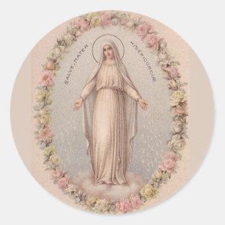 Jungfrau-Mary-Mutter der Gnaden-Rosen Runder Aufkleber