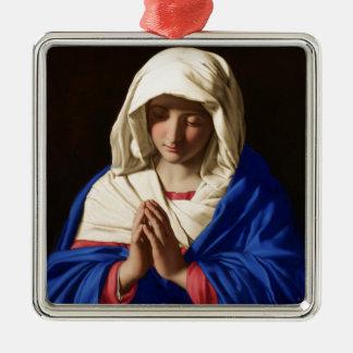 Jungfrau Mary Quadratisches Silberfarbenes Ornament