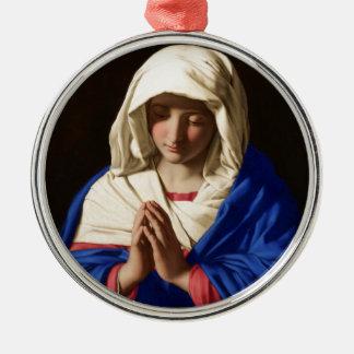Jungfrau Mary Rundes Silberfarbenes Ornament