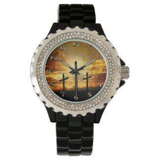 Jungfrau-Mary-Taube Calvery Jesuss Christus Armbanduhr
