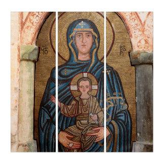 Jungfrau Mary und Jesus-Mosaik Triptychon