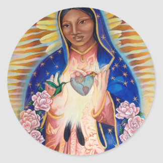 Jungfrau Mary - unsere Dame Of Guadalupe Runder Aufkleber