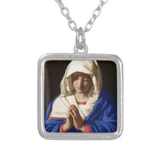 Jungfrau Mary Versilberte Kette