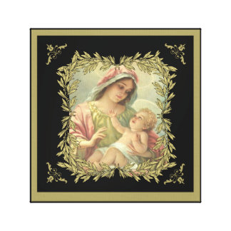 Jungfrau-Mutter-Mary-Baby-Jesus-Goldgrenze Leinwanddruck