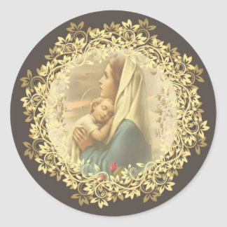 Jungfrau-Mutter-Mary-Baby-Jesus-Rosen Runder Aufkleber