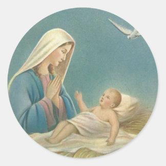 Jungfrau-Mutter Mary und Baby Jesus Runder Aufkleber