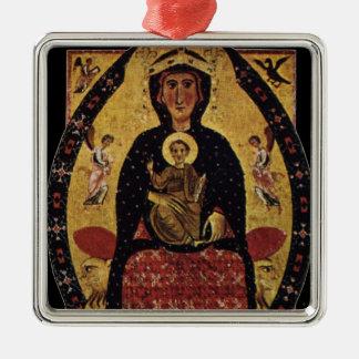 Jungfrau-Mutter und Kind, Vintages Porträt Quadratisches Silberfarbenes Ornament