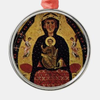 Jungfrau-Mutter und Kind, Vintages Porträt Rundes Silberfarbenes Ornament