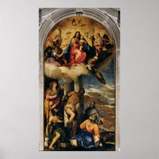 Jungfrau und Kind mit Engel Musikern und Heiligen Poster