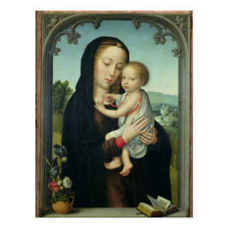 Jungfrau und Kind (Öl auf Platte) Postkarte
