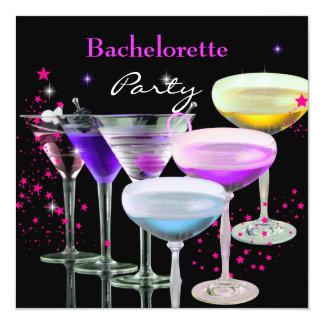 Junggeselinnen-Abschieds-Cocktail-Champagne-Rosa Quadratische 13,3 Cm Einladungskarte