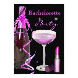 Junggeselinnen-Abschieds-rosa Lippenstift 12,7 X 17,8 Cm Einladungskarte