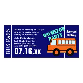Junggeselle-Bus-Durchlauf-orange Blau 10,2 X 23,5 Cm Einladungskarte