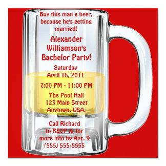 Junggeselle-Party-Bier-Tasse Quadratische 13,3 Cm Einladungskarte