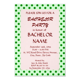 Junggeselle-Party - grüne Polka-Punkte, rosa 8,9 X 12,7 Cm Einladungskarte