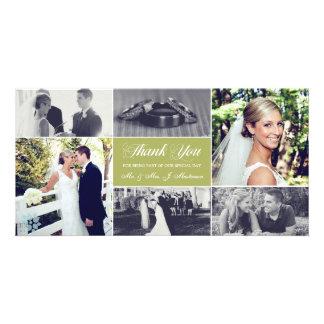 Jungvermählten danken Ihnen Foto-Karten-Moos-Grün Karte
