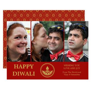 Jungvermählten Diwali Foto-Gruß-Karte - Karte
