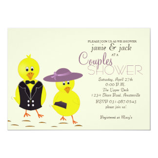 Jungvermählten-Küken-Paar-Brautparty-Einladung 12,7 X 17,8 Cm Einladungskarte