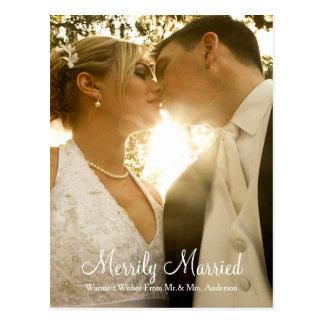 Jungvermählten-WeihnachtsFoto-Feiertags-Postkarte Postkarte