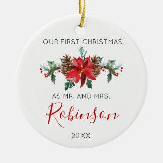 Jungvermählten-Weihnachtsherr und Frau rote Keramik Ornament