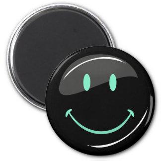 Justierbare Farbschwarzes glückliches Neongesicht Runder Magnet 5,1 Cm