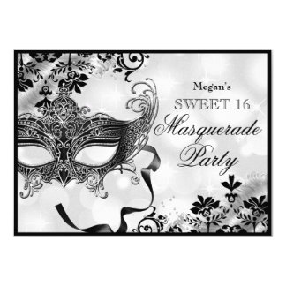 Juwel-Maske u. Damast-Silber-Maskerade-Bonbon 16 11,4 X 15,9 Cm Einladungskarte