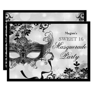Juwel-Maske u. Damast-Silber-Maskerade-Bonbon 16 Karte