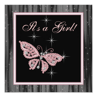 Juwel-Schmetterlings-Rosa-Schwarz-Baby-Dusche Quadratische 13,3 Cm Einladungskarte