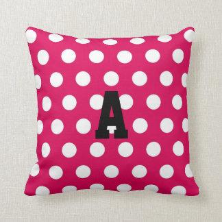 Juwel-Ton-rosa und weißer Monogramm-Tupfen Kissen