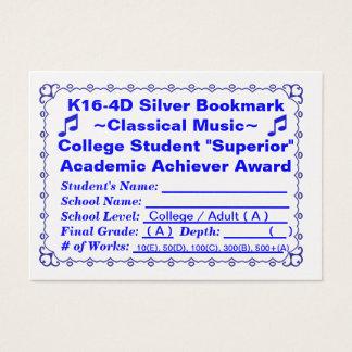 K16-4D silbernes Lesezeichen ~Classical Music~ Visitenkarte