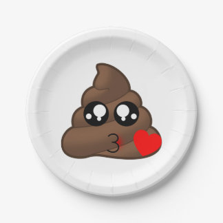 Kacken Sie Herz-Liebe Emoji Pappteller