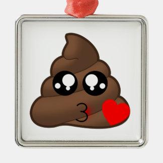 Kacken Sie Herz-Liebe Emoji Silbernes Ornament
