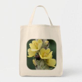 Käfer auf Mullein Blumen-Natur-Taschen-Tasche Tragetasche