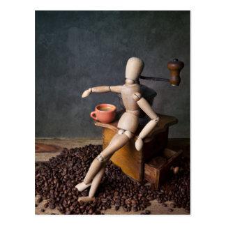 Kaffee-Arbeitskraft Postkarte