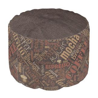 Kaffee auf Leinwand-Wort-Wolke Brown ID283 Runder Sitzpuff