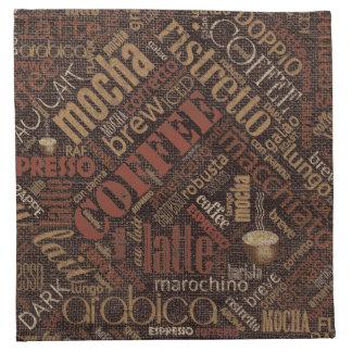 Kaffee auf Leinwand-Wort-Wolke Brown ID283 Serviette