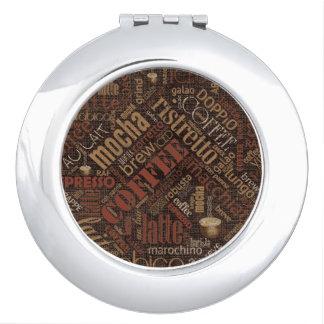 Kaffee auf Leinwand-Wort-Wolke Brown ID283 Taschenspiegel