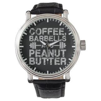Kaffee, Barbells und Erdnussbutter - lustiges Armbanduhr