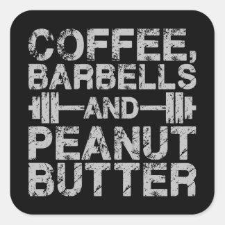 Kaffee, Barbells und Erdnussbutter - lustiges Quadratischer Aufkleber