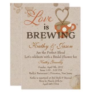 Kaffee-Brautparty-Einladung Karte