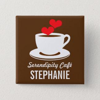 Kaffee Café Geschäfts-kundenspezifisches Quadratischer Button 5,1 Cm
